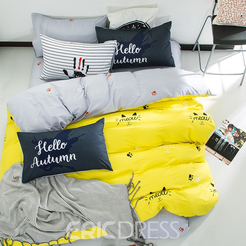 Vivilinen Nordic Style Cat Printed Cotton Yellow Kids Duvet Covers/Bedding Sets