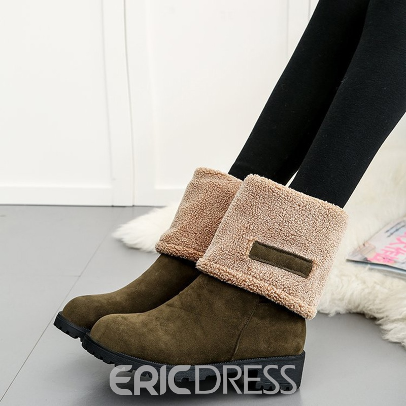 Ericdress Fuzzy Plain Slip-On Women's Boots