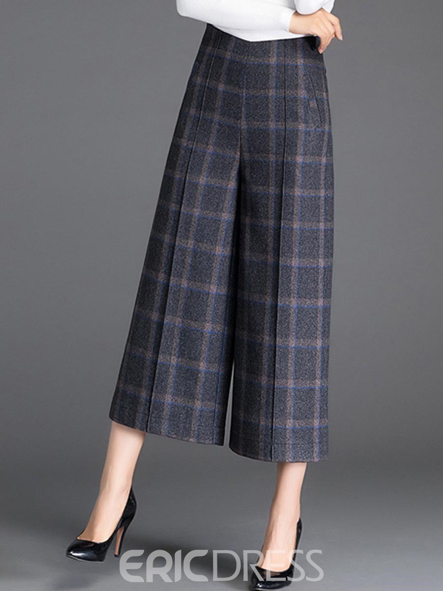 Ericdress Plaid Cropped Pocket Women's Dress Pants