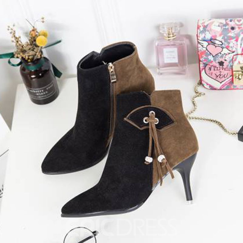 Ericdress Fringe Color Block High Heel Boots