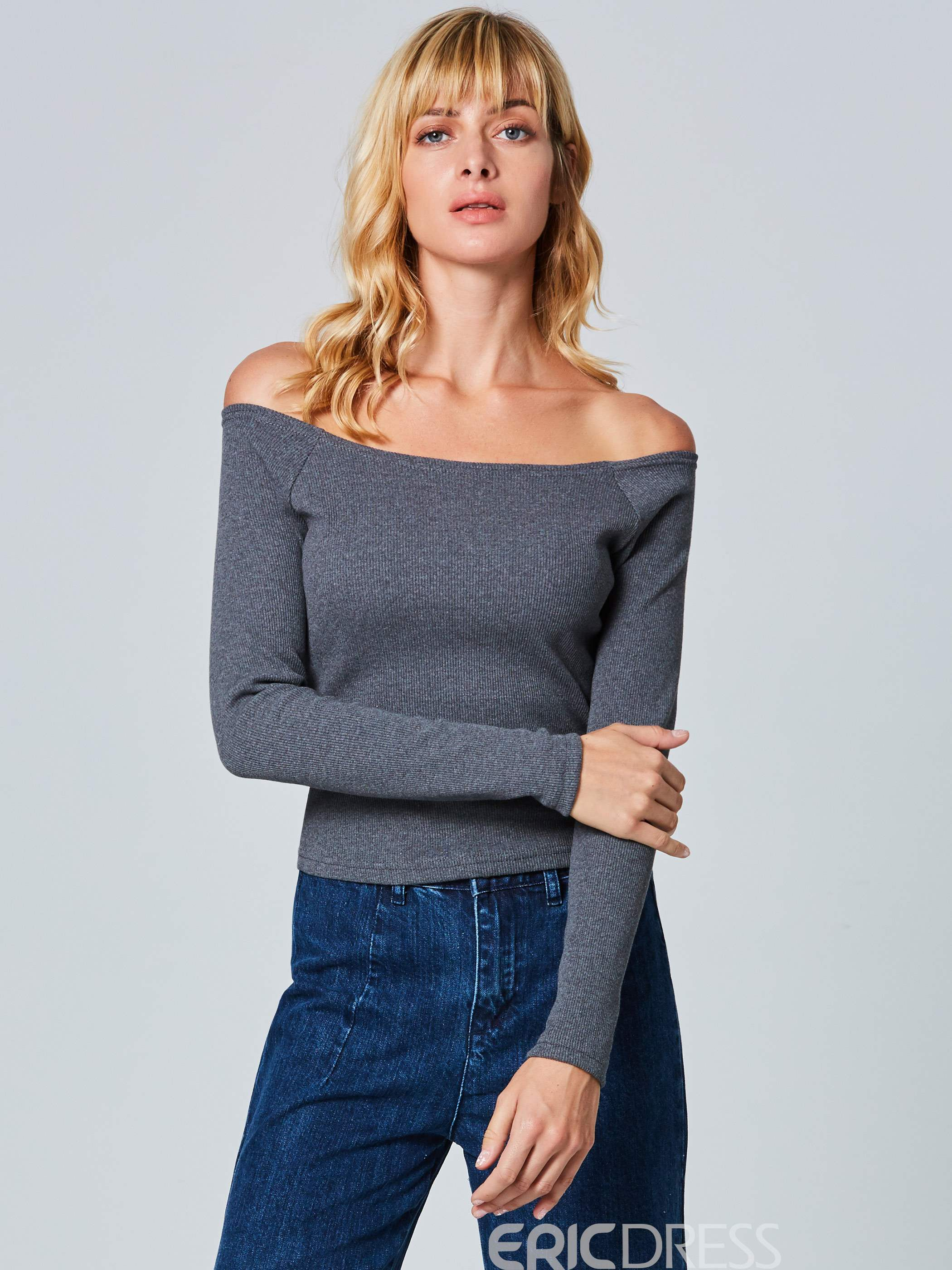 Ericdress Slash Neck Slim Plain Knitwear
