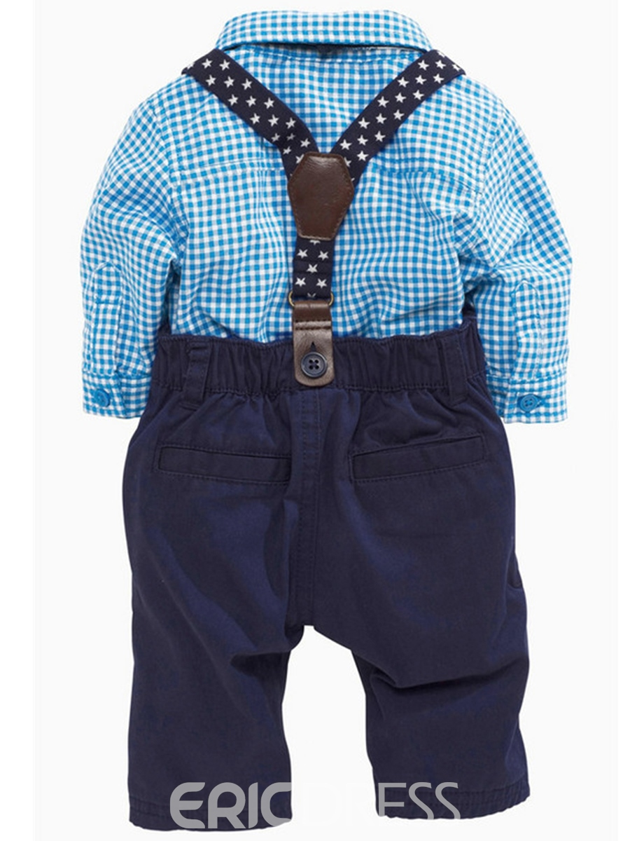 Ericdress Vogue Plaid Shirt & Suspenders 2-Pcs Boys Outfit