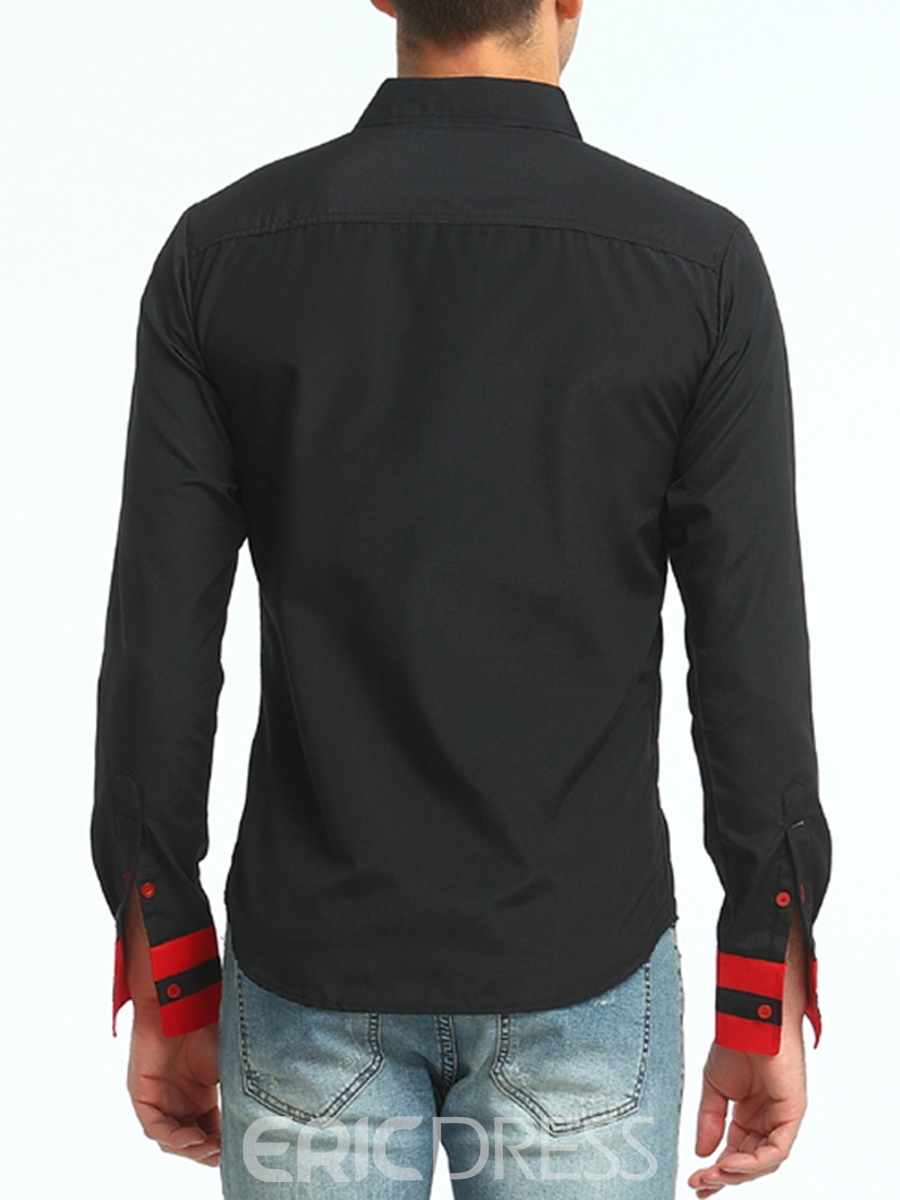Ericdress Single-Breasted Patchwork Long Sleeve Men's Shirt