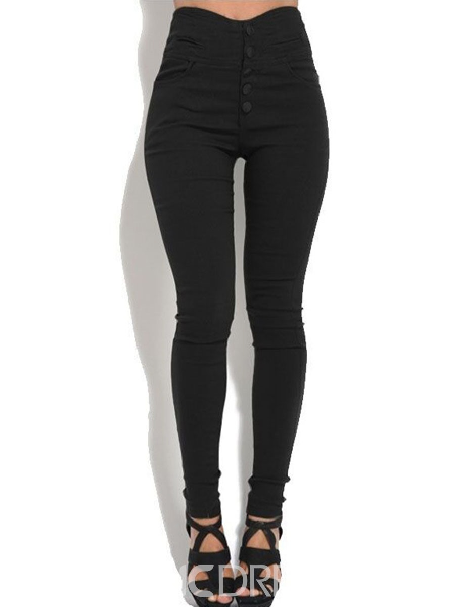 Ericdress High-Waist Plain Button Leggings Pants