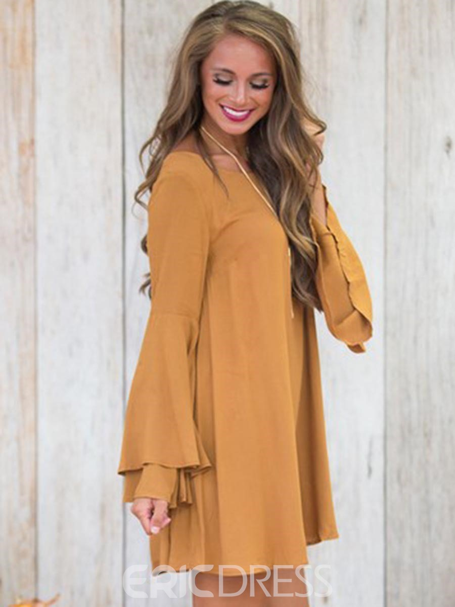 Ericdress Flare Sleeves Backless Above Knee Sweater Dress
