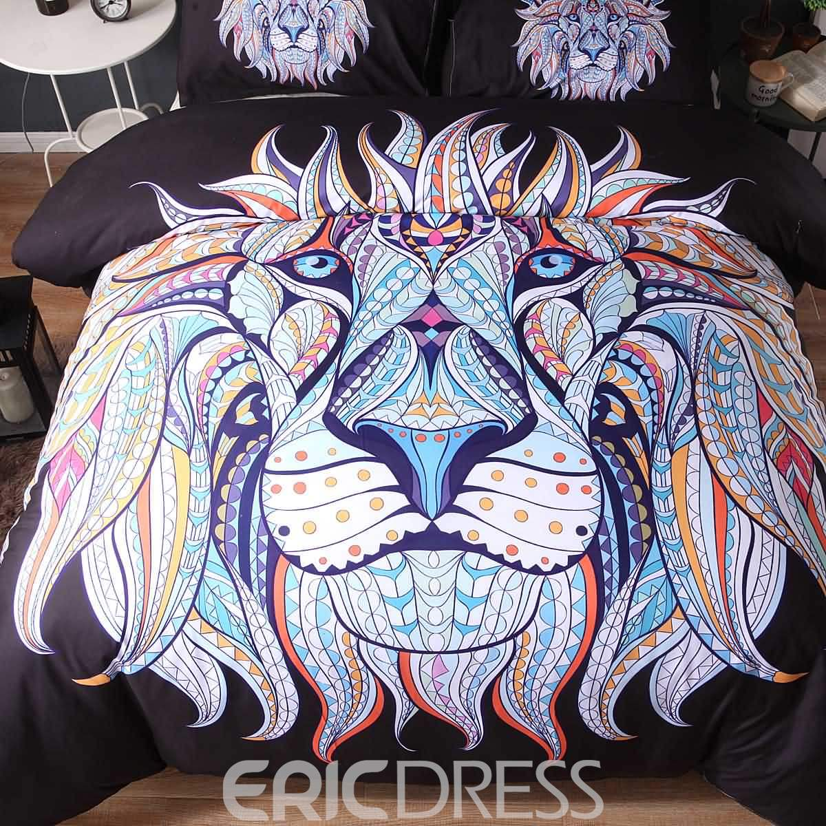 3D Lion Face Printed Exotic Style Polyester 3-Piece Black Bedding Sets