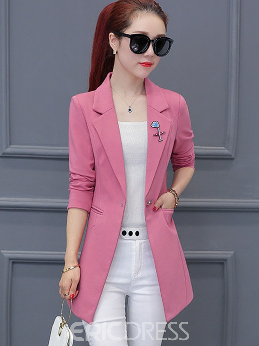Ericdress Slim Notched Lapel Enamel Pins Blazer