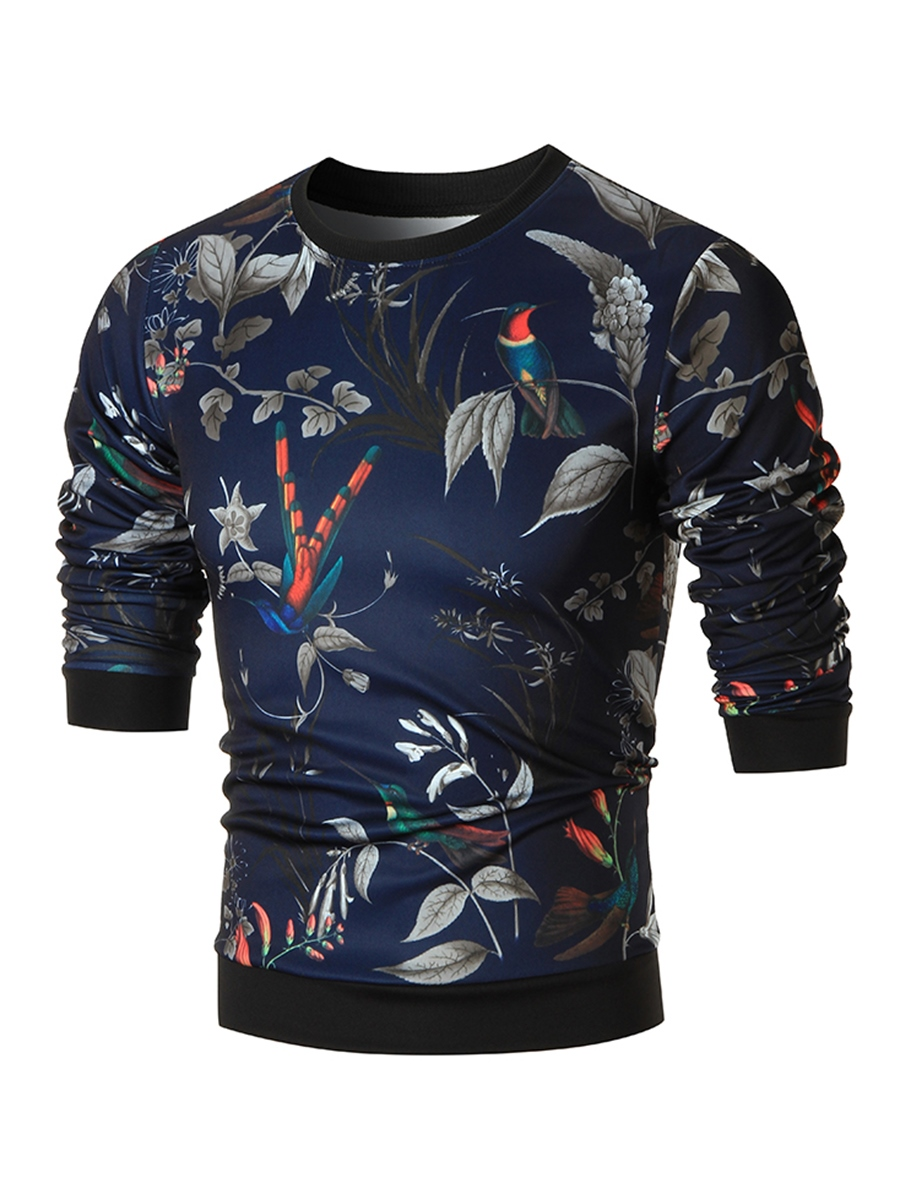Ericdress Floral Print Pullover Casual Men's Hoodie