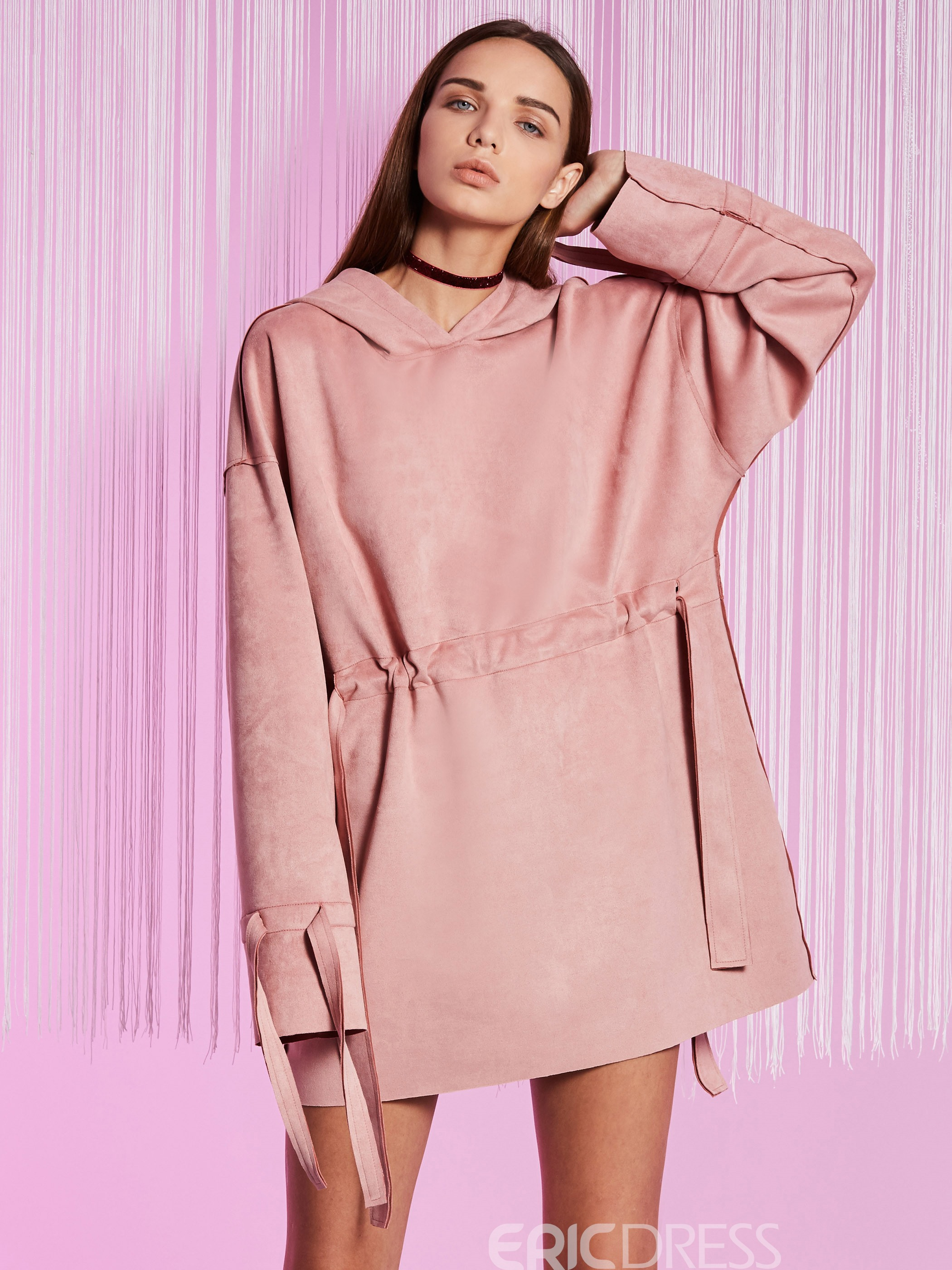 Ericdress Suede Pullover Hooded Plain Casual Dress