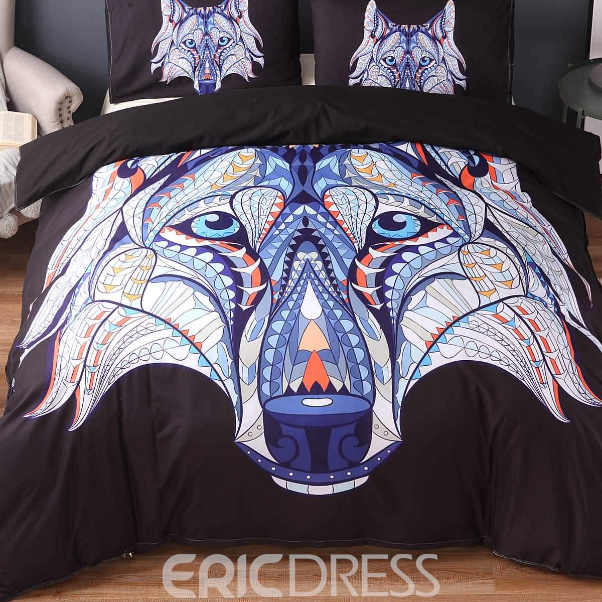 3D Wolf Face Printed Exotic Style Polyester 3-Piece Black Bedding Sets