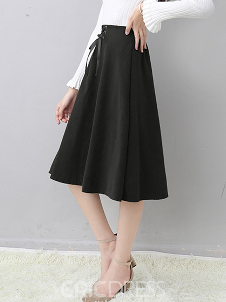 Ericdress High-Waist Lace-Up Pleated Autumn Usual Skirts