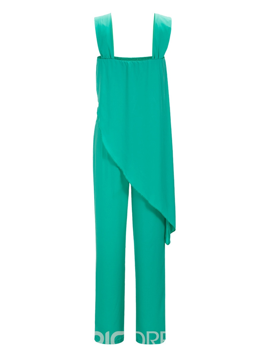 Ericdress Plain Suspenders Asymmetric Jumpsuits Pants