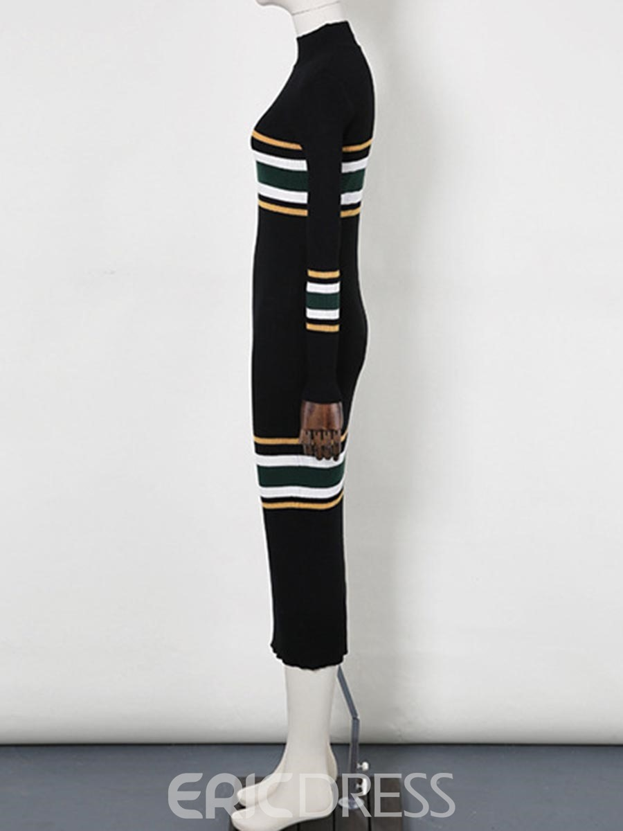 Ericdress Mid-Calf Striped Bodycon Sweater Dress
