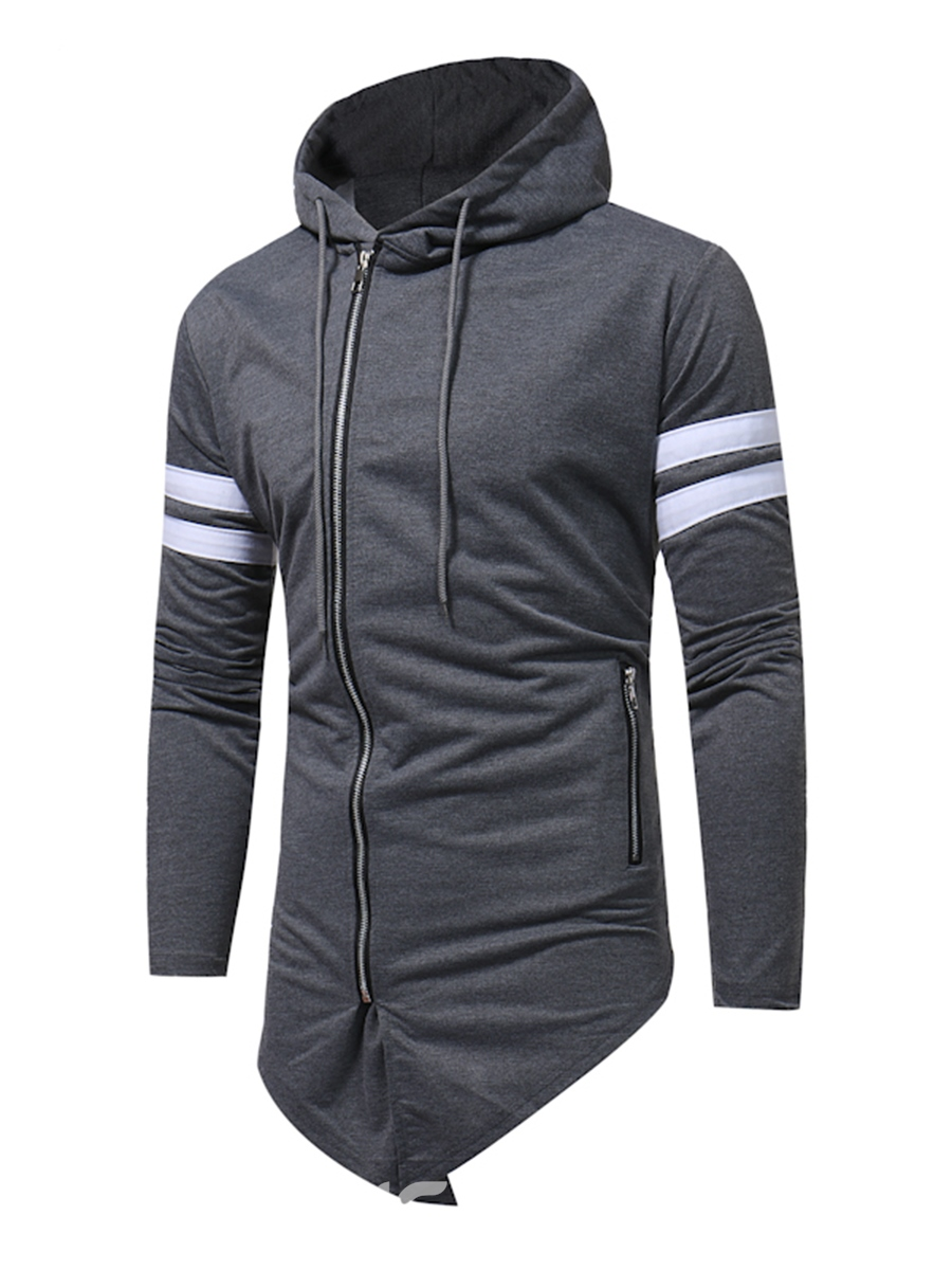 Ericdress Patchwork Zipper Lace-Up Casual Men's Hoodie
