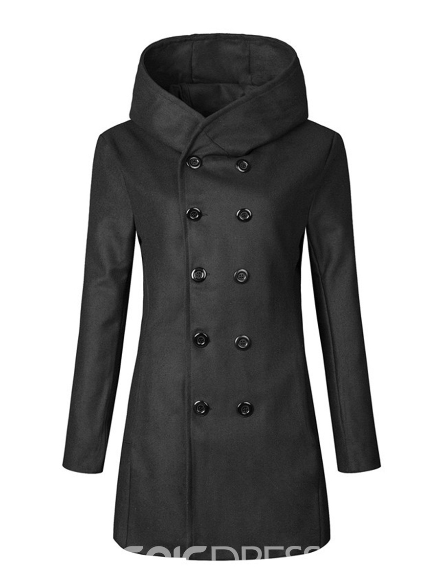 Ericdress Plain Double-Breasted Slim Men's Woolen Coat