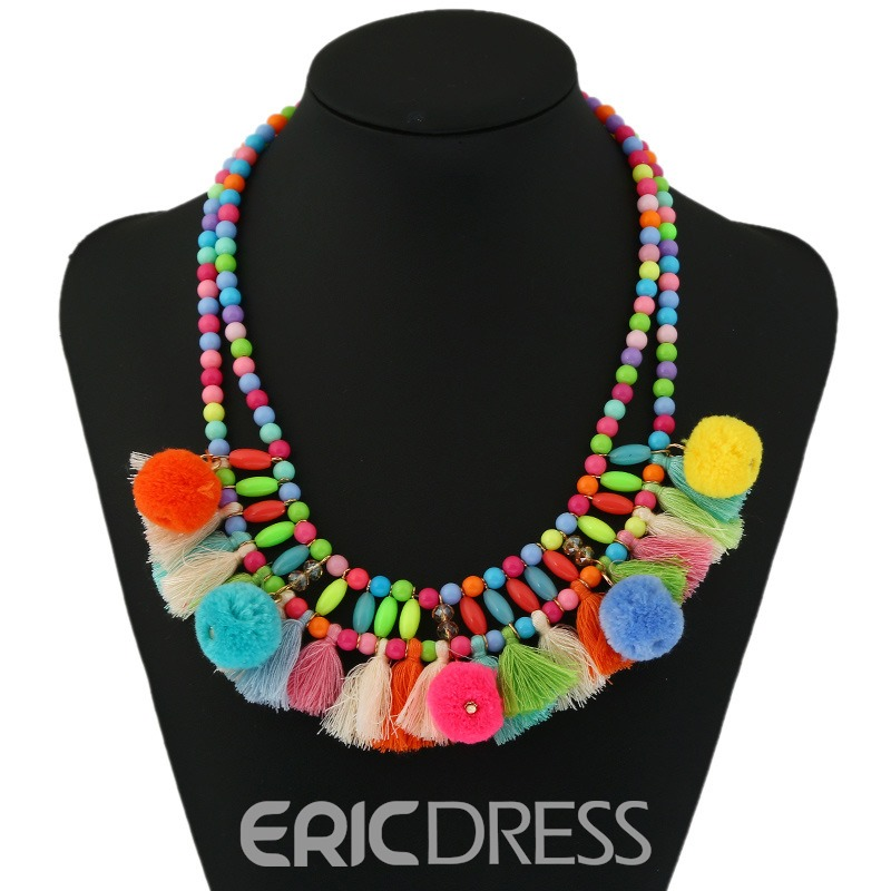 Ericdress Colorful Fuzzy Ball Tassel Necklace for Women