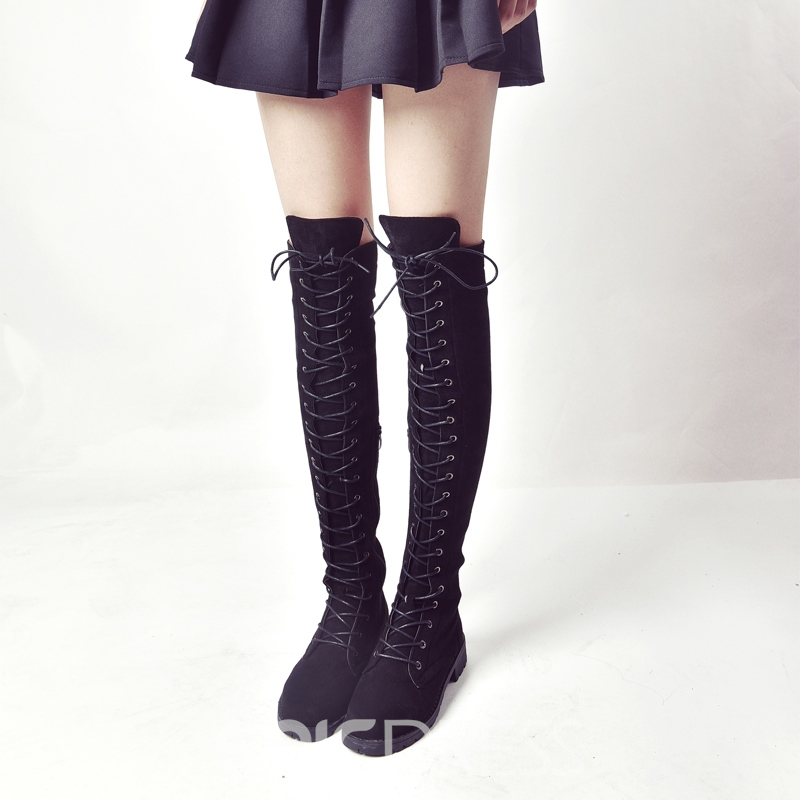 Ericdress Plain Lace-Up Platform Knee High Boots