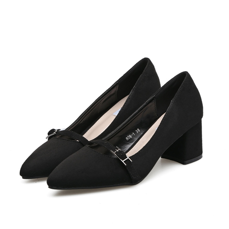 Ericdress Buckle Slip-On Pointed Toe Chunky Heel Pumps