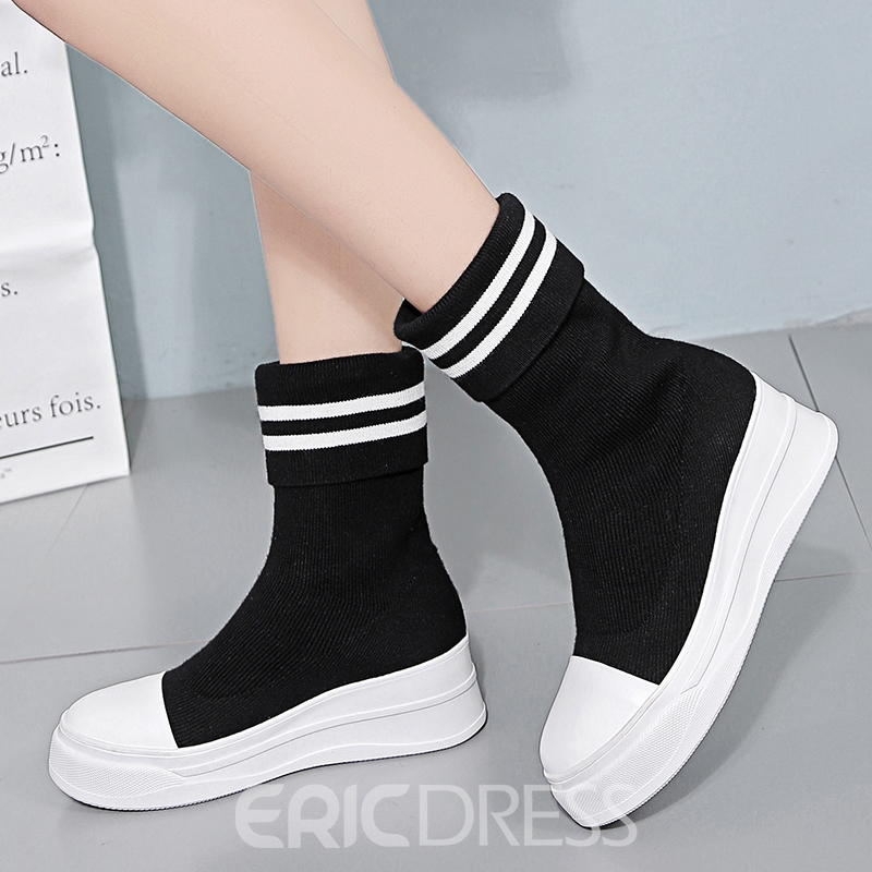 Ericdress Color Block Slip-On Ankle Boots