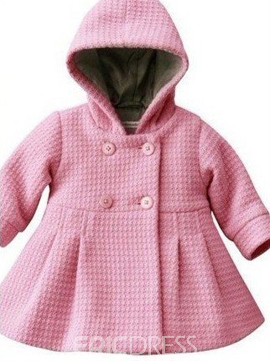 Ericdress Jacquard Double-Breasted Peplum Baby Girls Outerwear