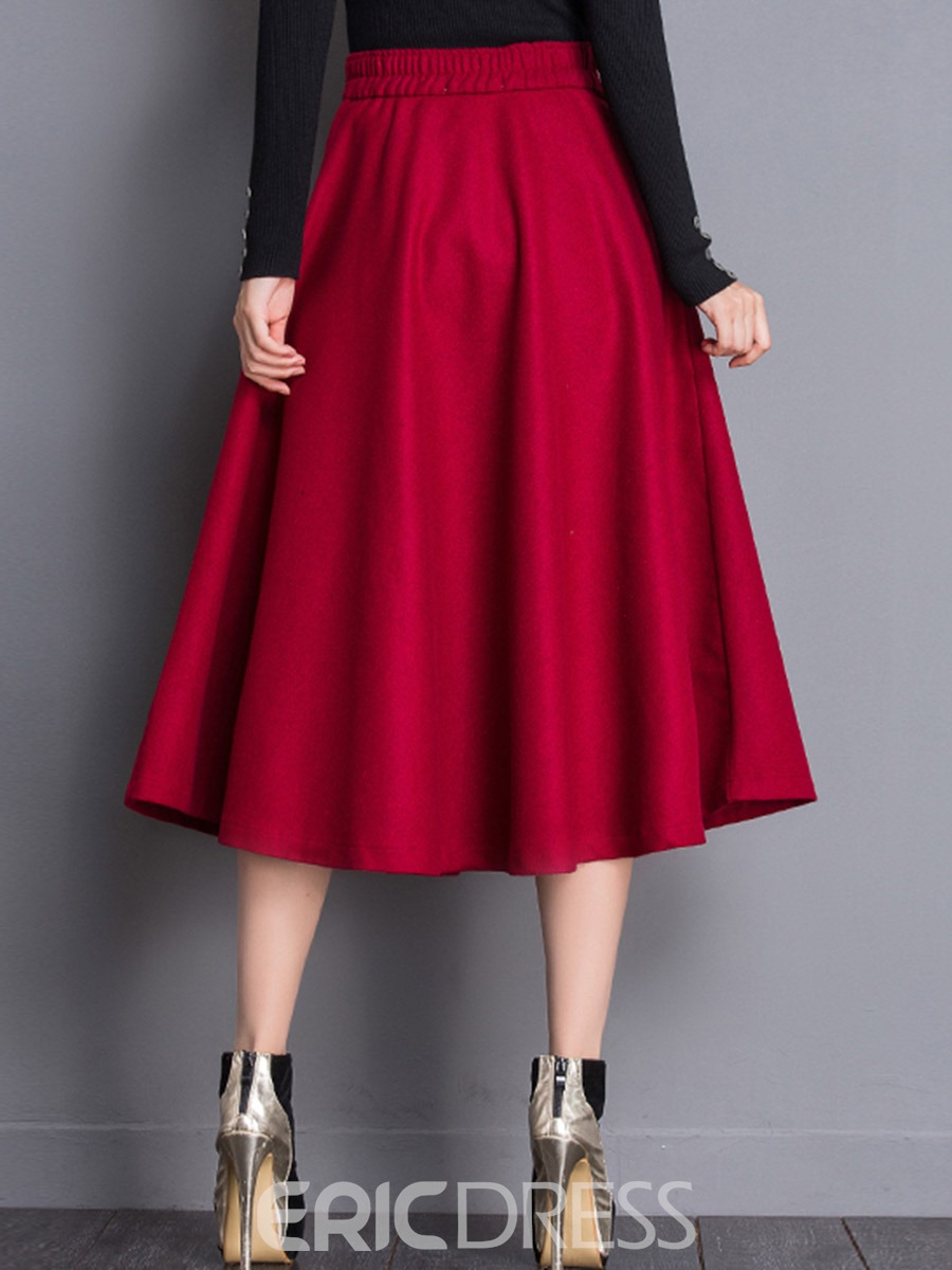 Ericdress A-Line Mid-Calf High-Waist Plain Thick Women's Skirt