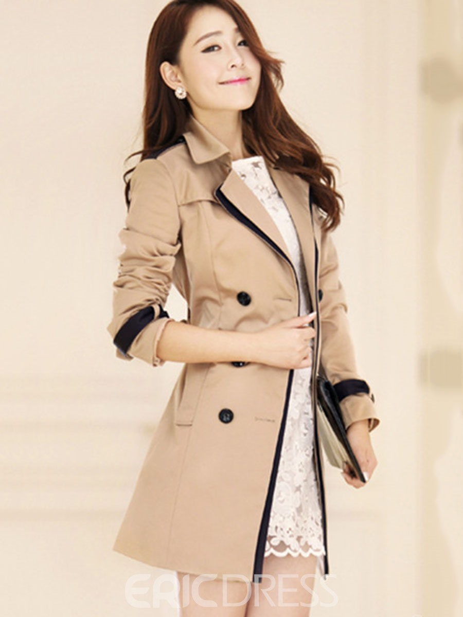 Ericdresss Lapel Thin Mid-Length Epaulet Trench Coat
