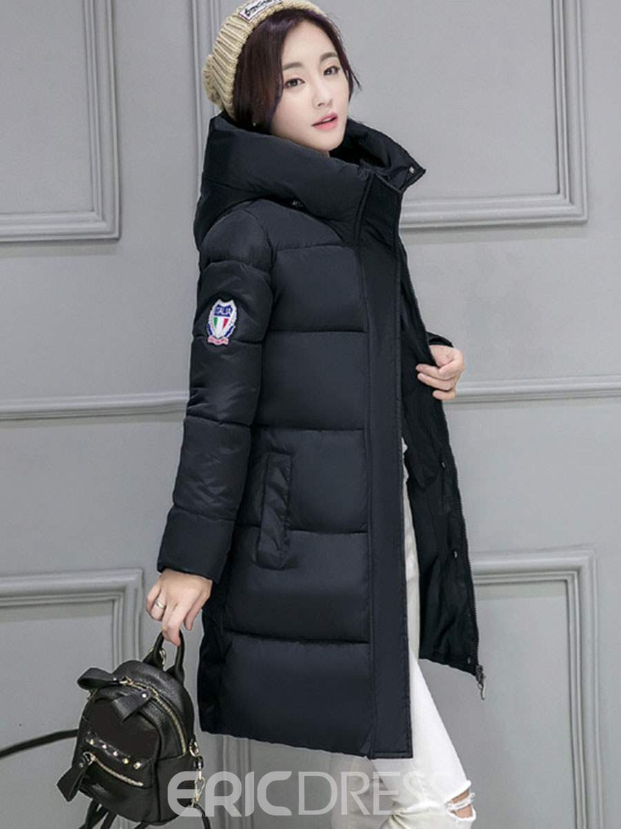 Ericdress Plain Mid-Length Down Coat