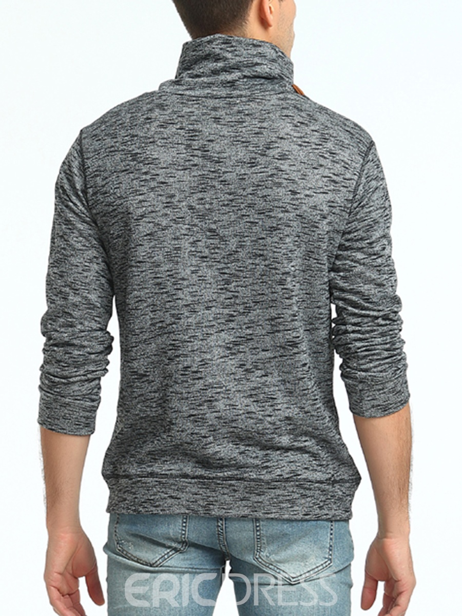 Ericdress Oblique Button Stand Collar Casual Long Sleeve Men's Hoodie