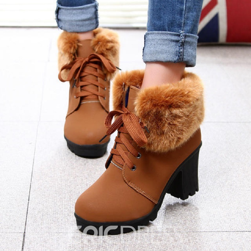 Ericdress Plain Platform Short Floss High Heel Boots