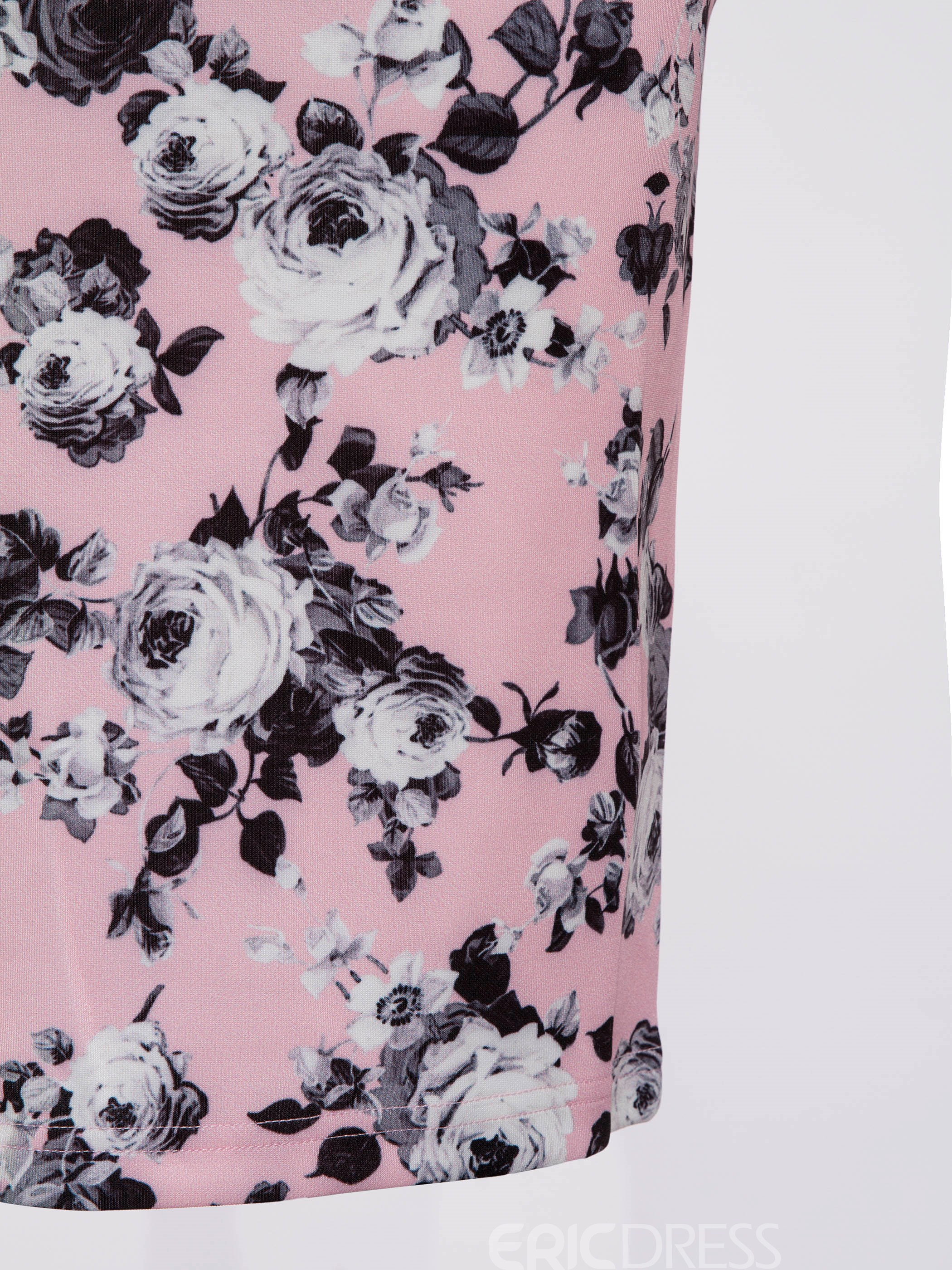 Ericdress Floral Print Sleeveless Bodycon Dress