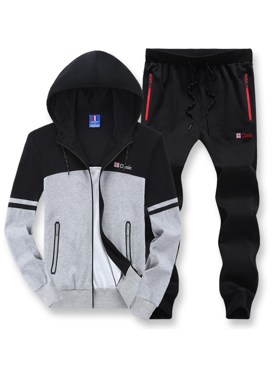 Ericdress Color Block Zipper Casual Men's Sports Suit