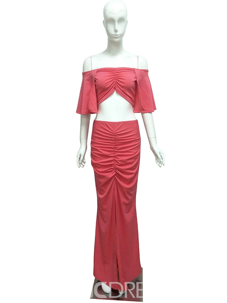 Ericdress Slash Neck Pleated Backless Floor-Length Suits