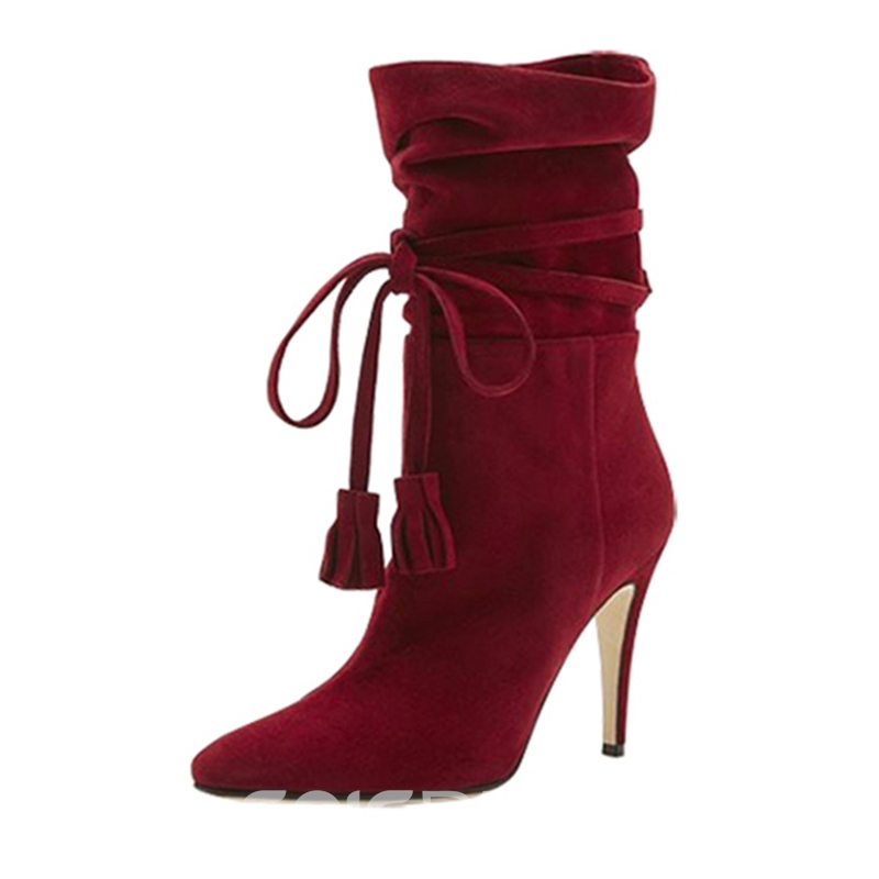 Ericdress Fashion Fringe Lace-Up High Heel Boots