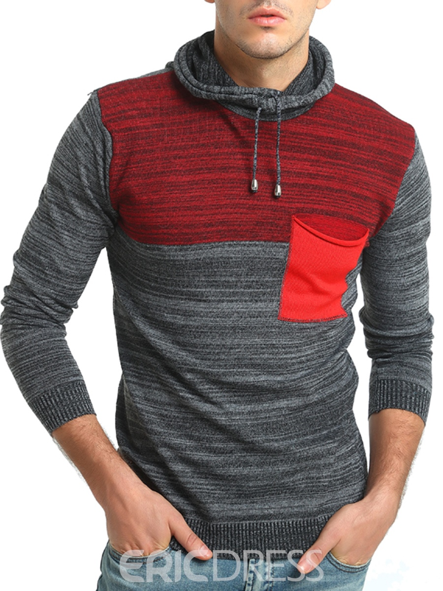 Ericdress Hooded Color Block Slim Men's Pullover Sweater