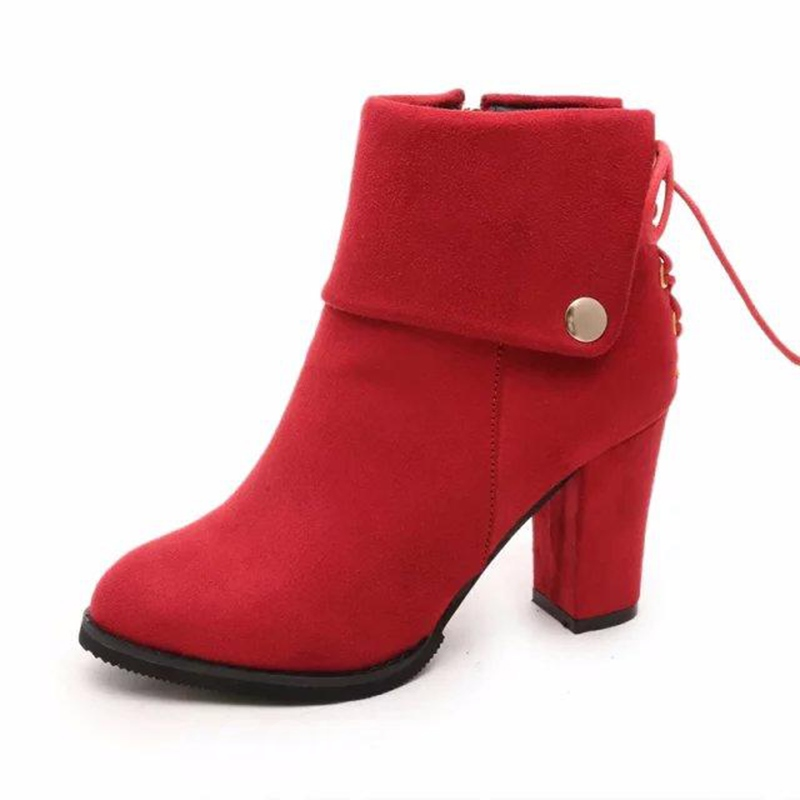 Ericdress Cross Strap Round Toe Plain High Heel Boots