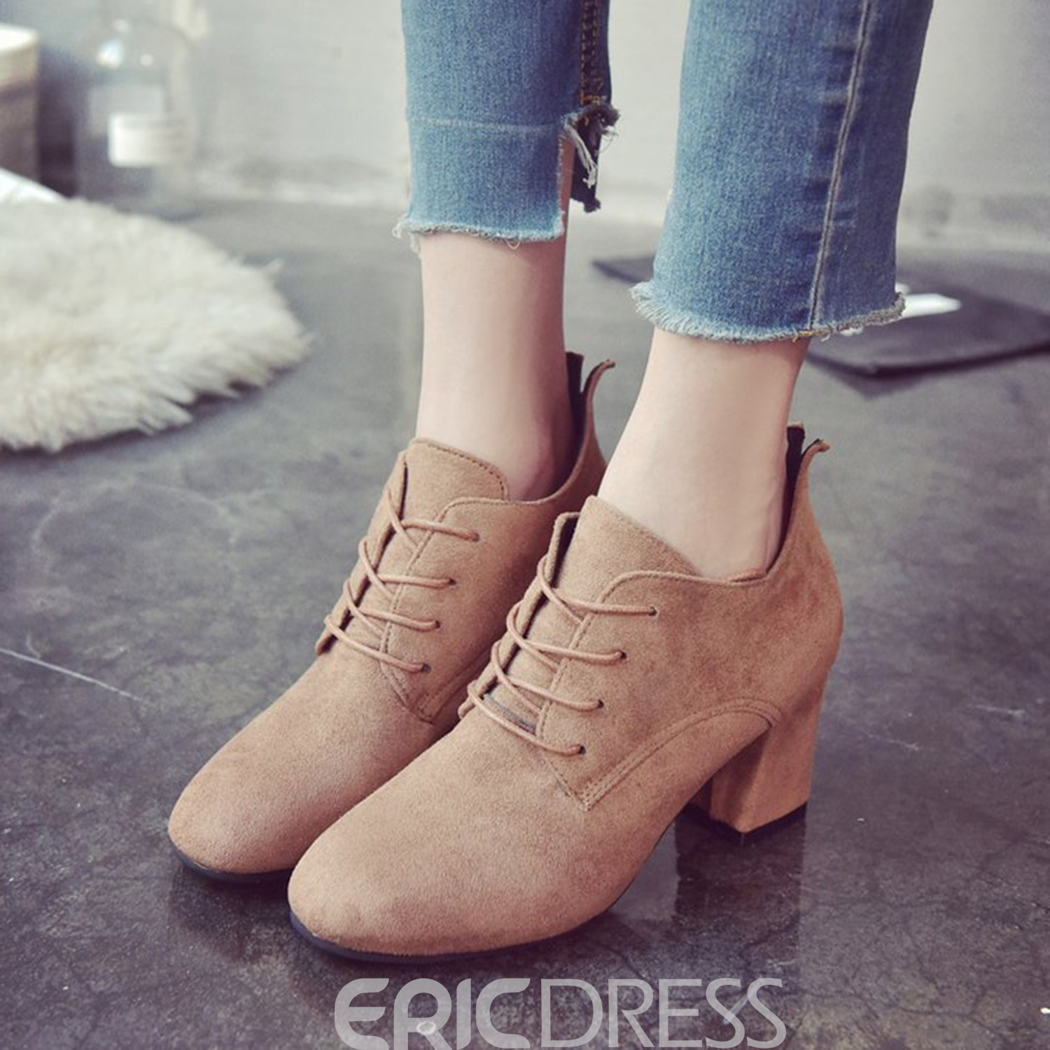 Ericdress Plain Lace-Up Chunky Heel Ankle Boots