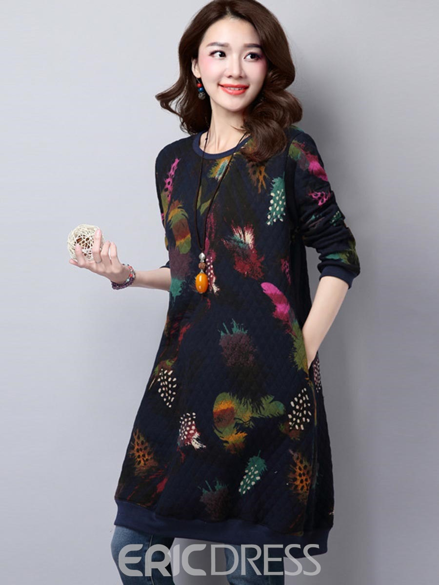 Ericdress Plant Print Mori Girl Pocket Long Sleeve Dress