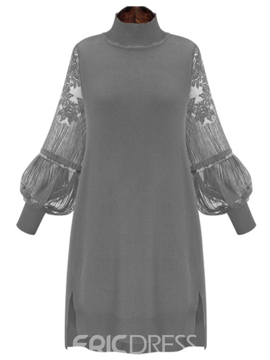 Ericdress High Neck Lantern Sleeve See-Through Casual Dress