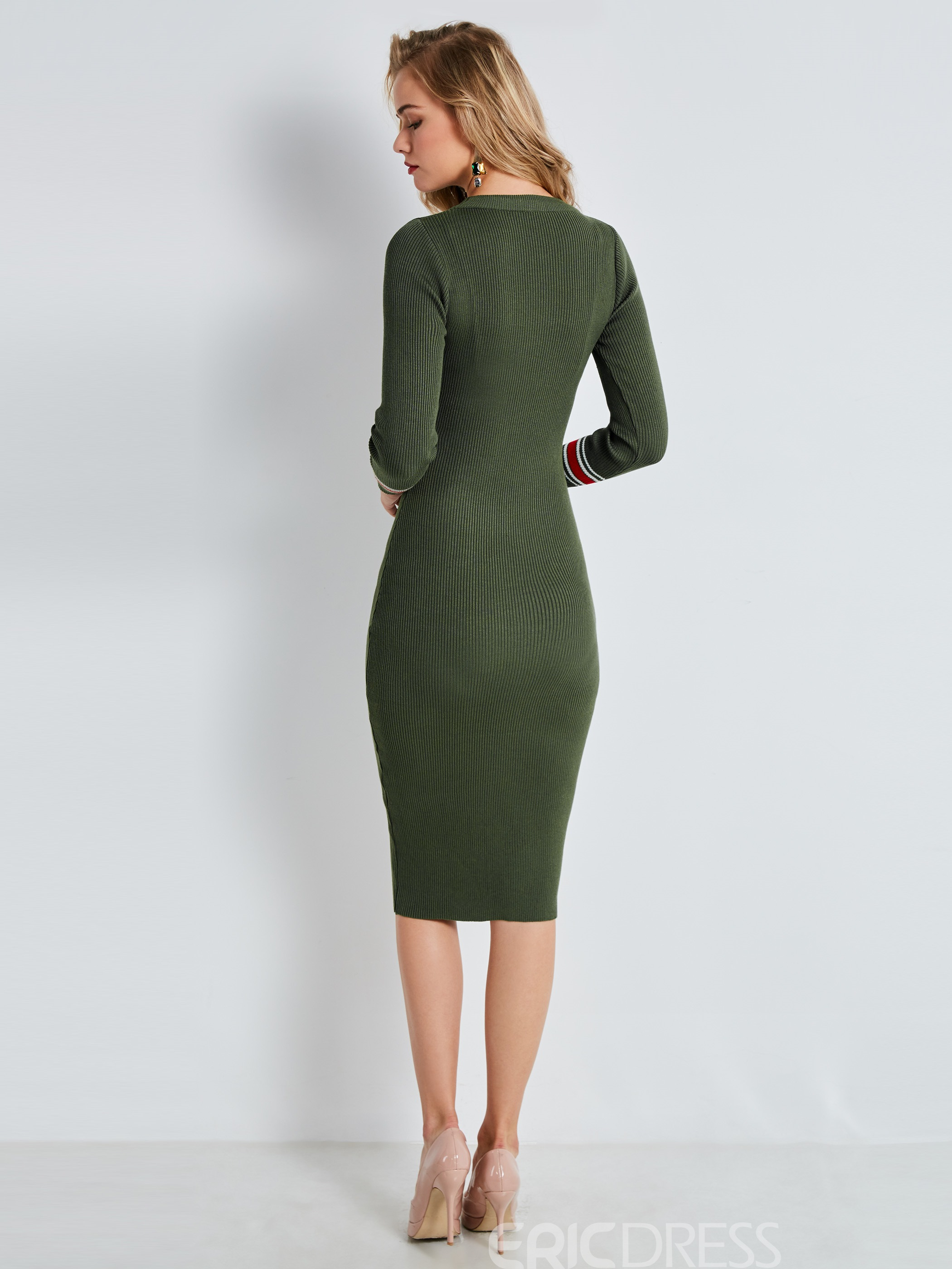 Ericdress Round Neck Mid-Calf Sheath Sweater Dress
