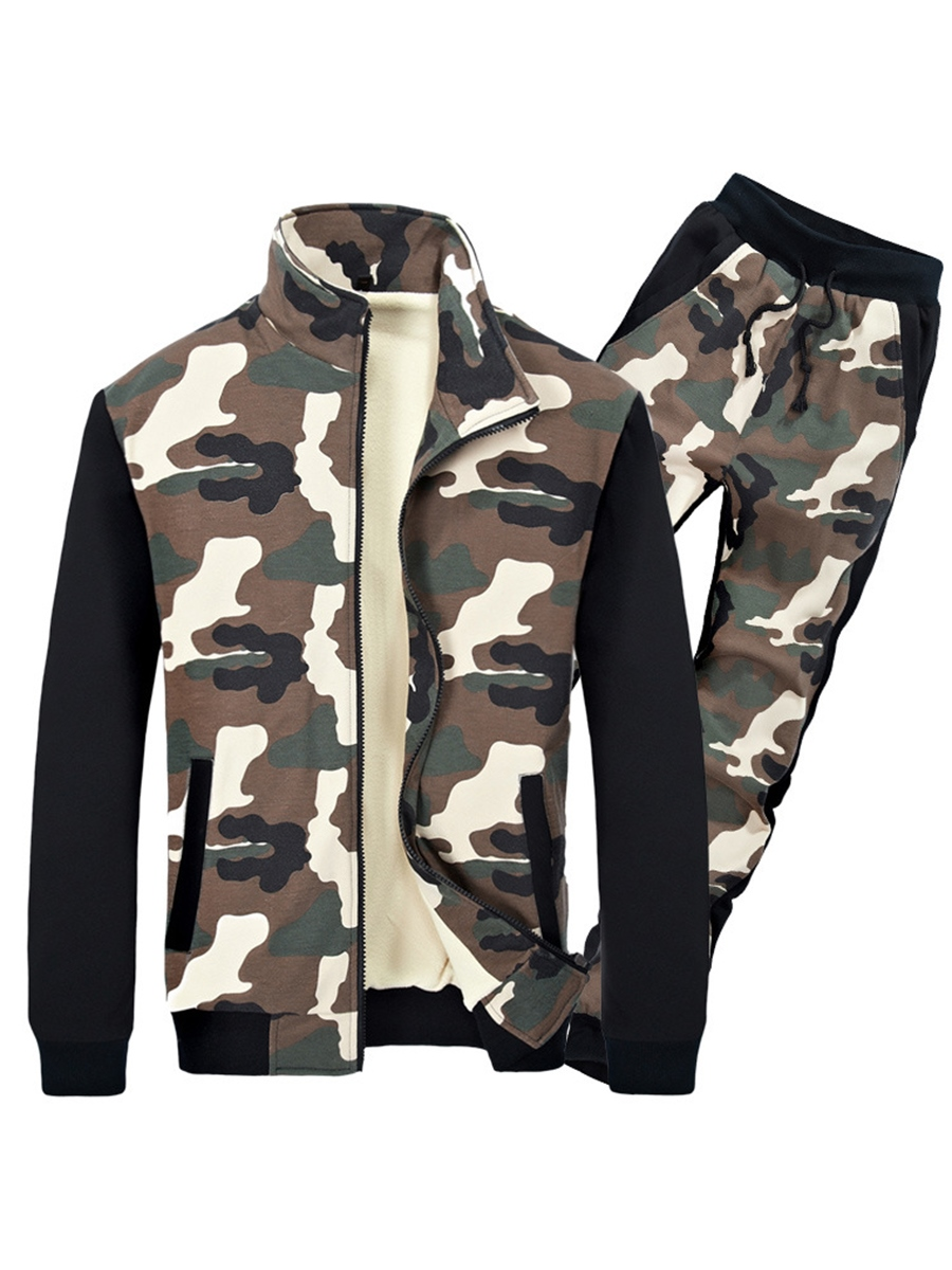Ericdress Zip Camouflage Print Vogue Men's Sports Suit