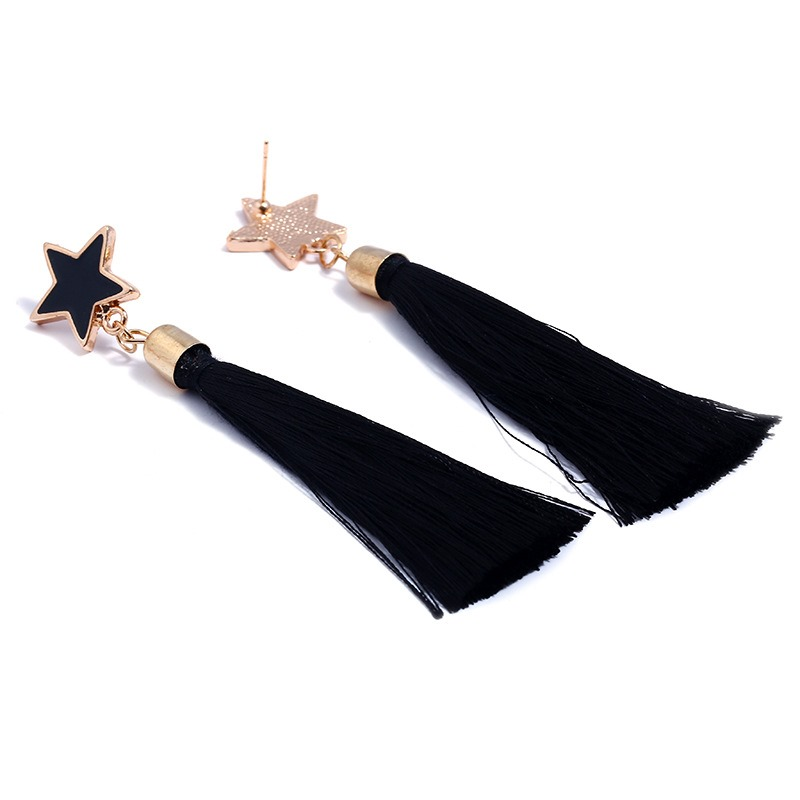 Ericdress Chic Five-Pointed Star Tassel Drop Earring