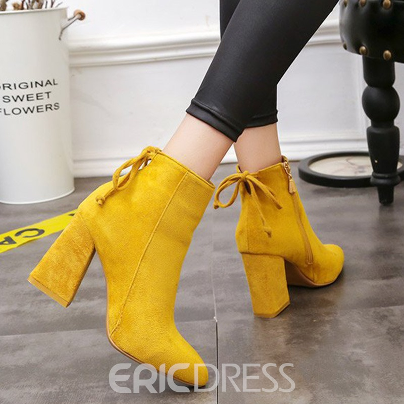 Ericdress Suede Pointed Toe Plain High Heel Boots