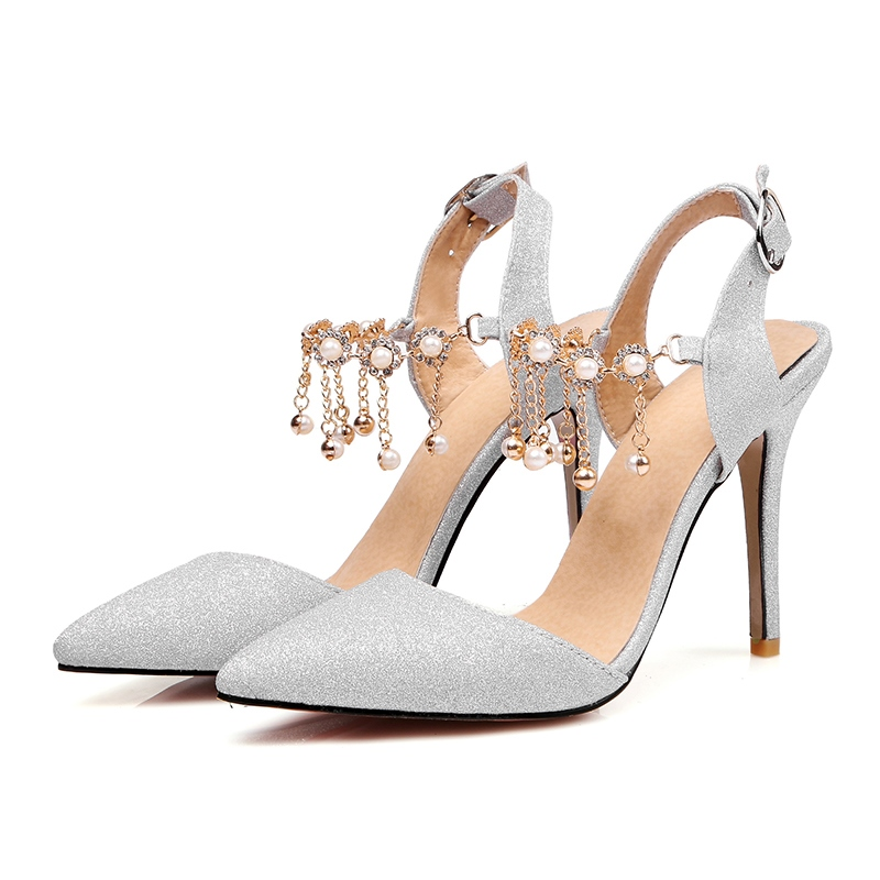Ericdress Rhinestone Sequin Plain Stiletto Sandals with Beads