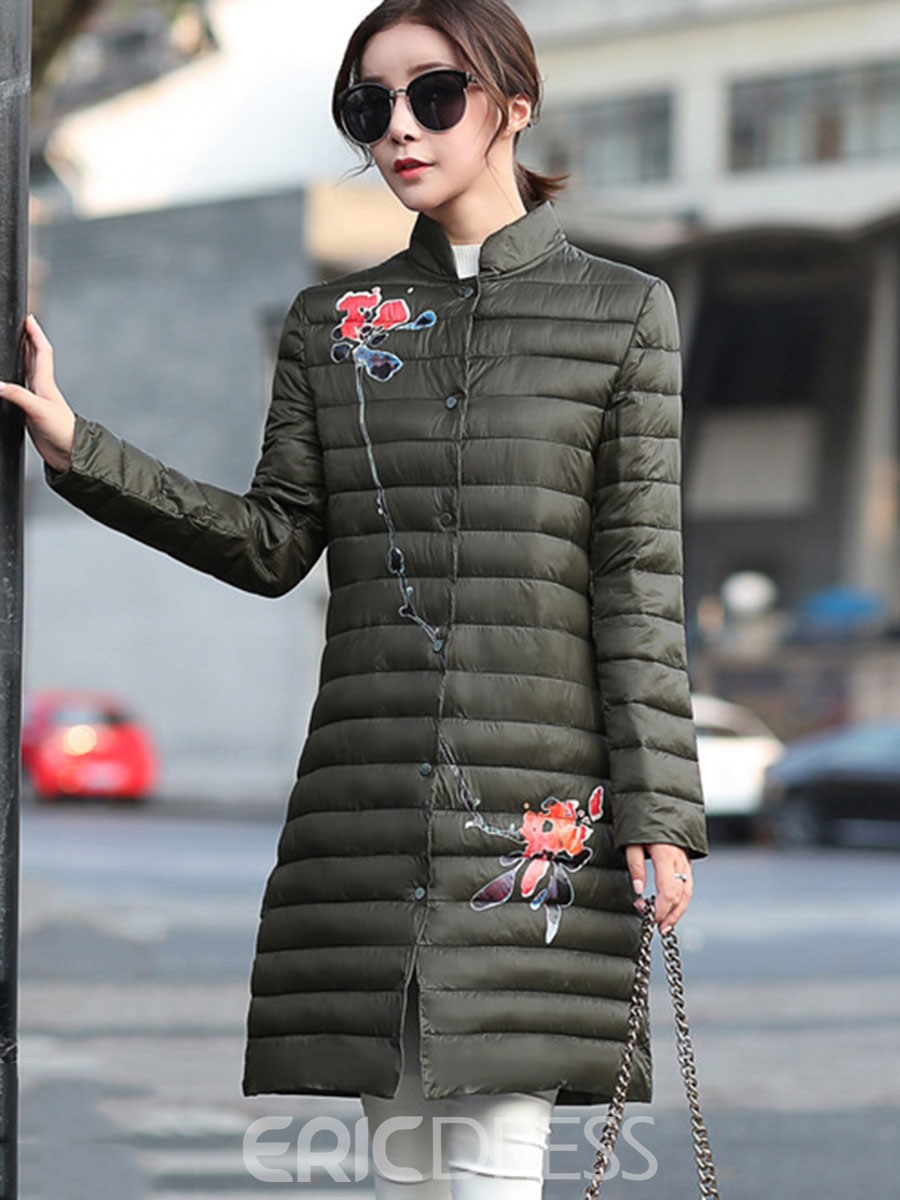 Ericdress Plain Mid-Length Floral Down Coat