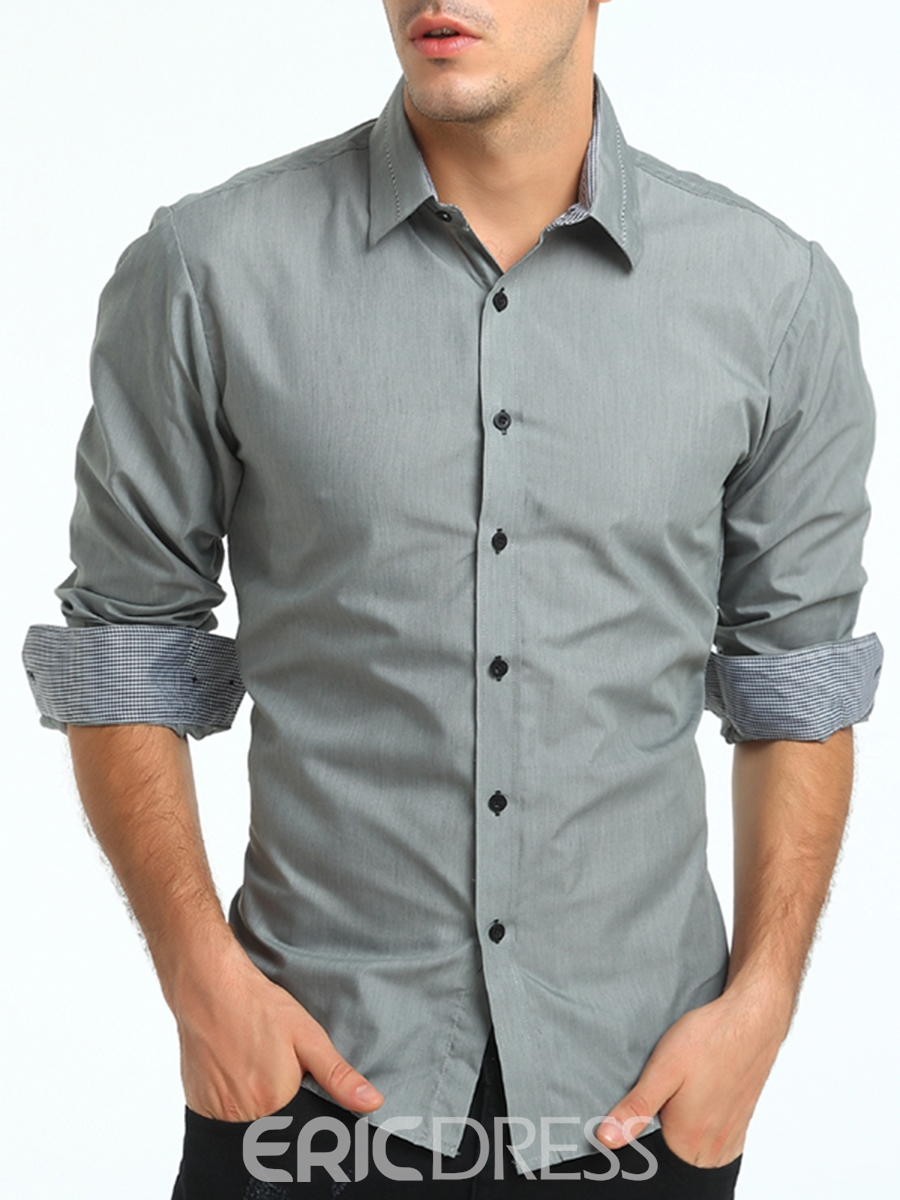 Ericdress Solid Color Lapel Slim Men's Shirt