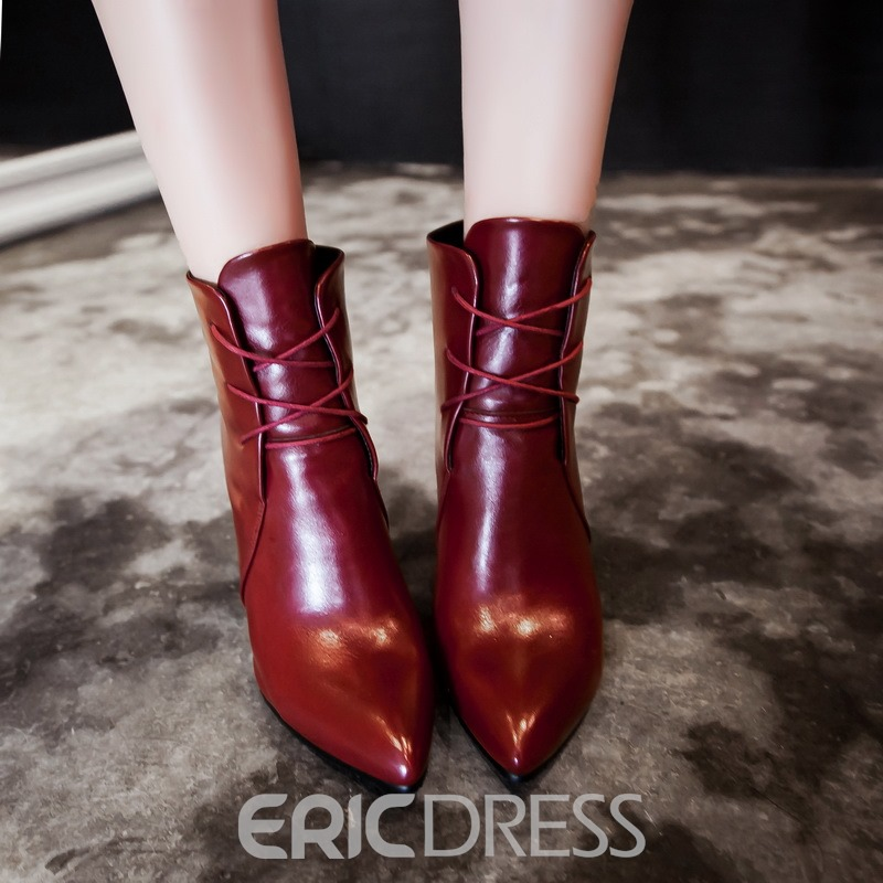 Ericdress PU Pointed Toe Plain High Heel Boots