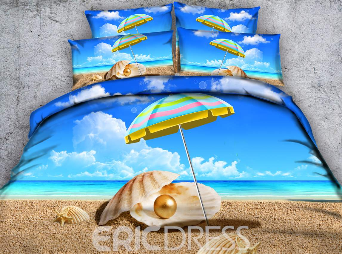 Rainbow Colored Umbrella and Shells Printed Cotton 4-Piece 3D Bedding Sets/Duvet Covers