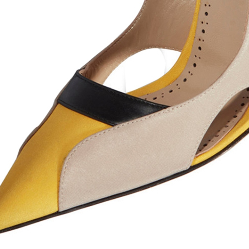 Ericdress Hollow Color Block Slip-On Stiletto Heel Pumps
