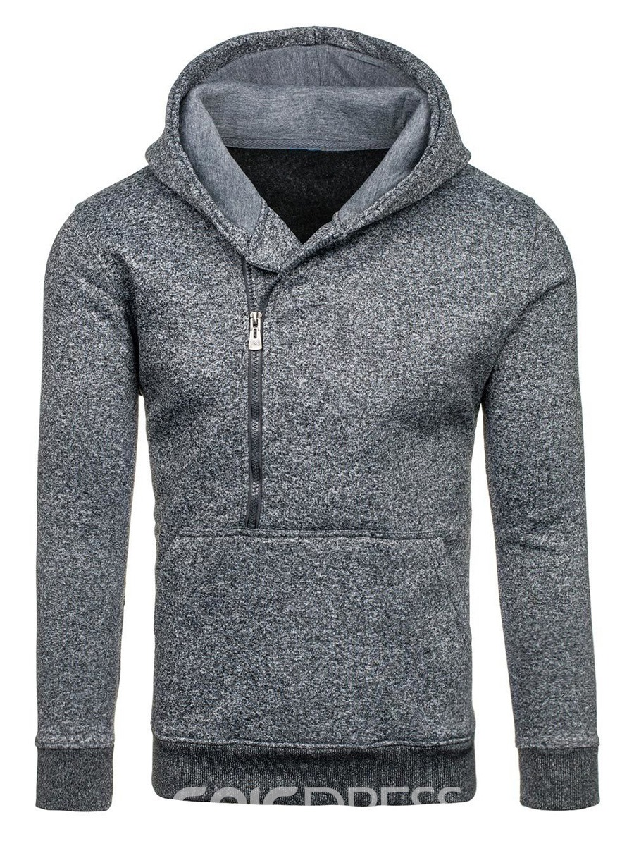 Ericdress Plain Zip Hooded Casual Men's Hoodie