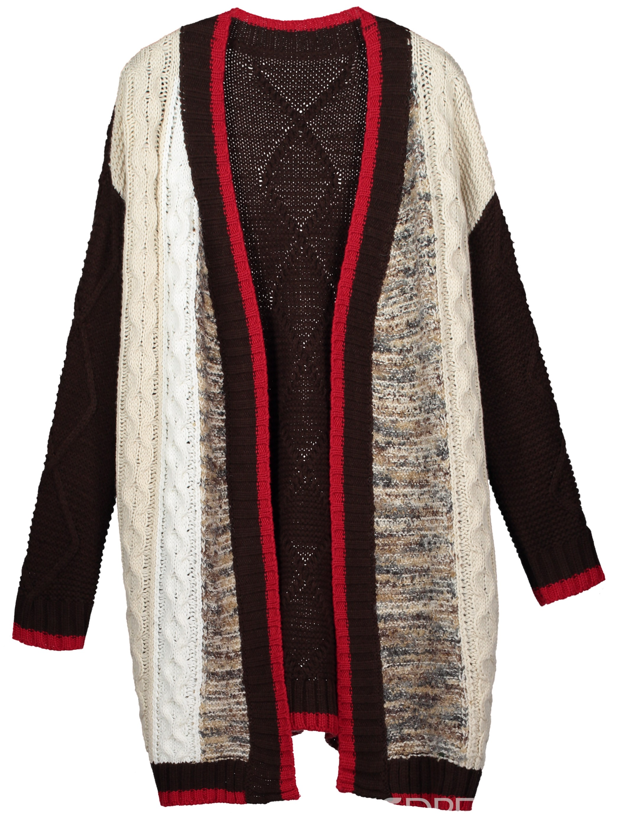 Ericdress Color Block Mid-Length Cardigan Sweater